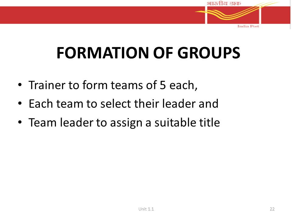 FORMATION OF GROUPS Trainer to form teams of 5 each, Each team to select their leader and Team leader to assign a suitable title Unit 1.122