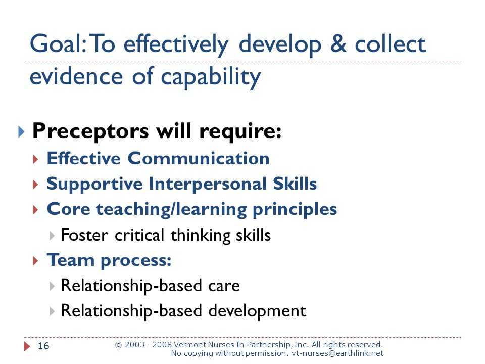Goal: To effectively develop & collect evidence of capability © 2003 - 2008 Vermont Nurses In Partnership, Inc. All rights reserved. No copying withou
