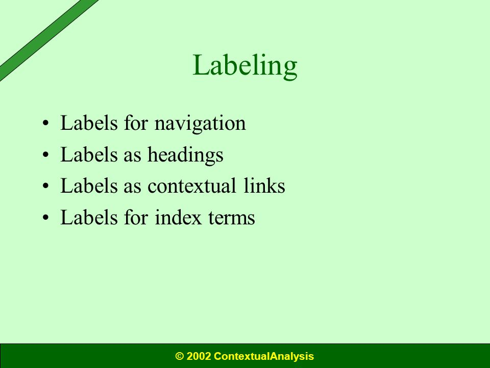 Labeling Labels for navigation Labels as headings Labels as contextual links Labels for index terms © 2002 ContextualAnalysis