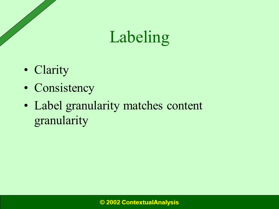 Labeling Clarity Consistency Label granularity matches content granularity © 2002 ContextualAnalysis