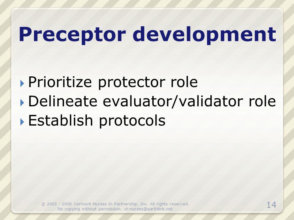 Preceptor development  Prioritize protector role  Delineate evaluator/validator role  Establish protocols 14 © 2003 - 2008 Vermont Nurses In Partne