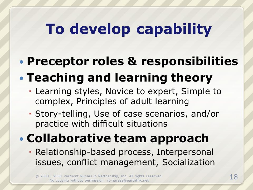 Preceptor roles & responsibilities Teaching and learning theory  Learning styles, Novice to expert, Simple to complex, Principles of adult learning 