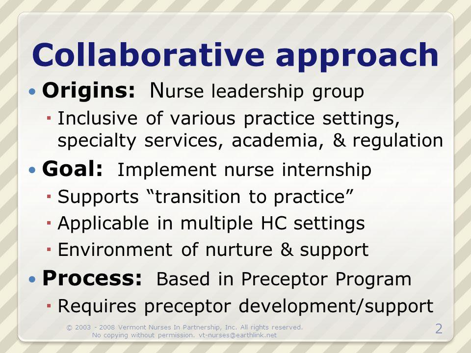 Origins: N urse leadership group  Inclusive of various practice settings, specialty services, academia, & regulation Goal: Implement nurse internship
