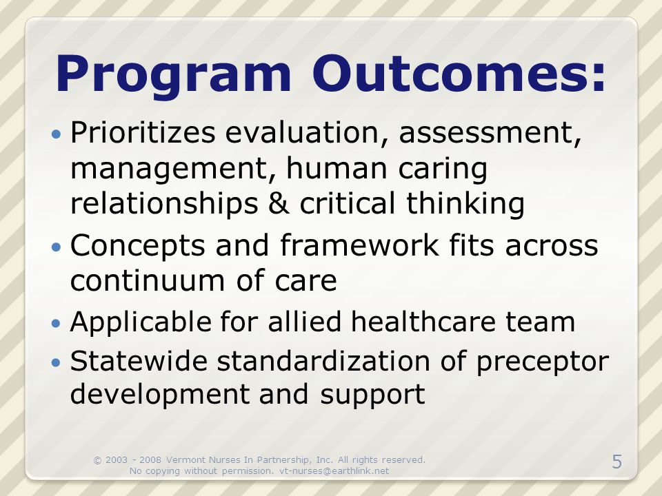 Program Outcomes: Prioritizes evaluation, assessment, management, human caring relationships & critical thinking Concepts and framework fits across co