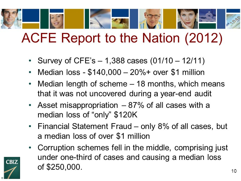 10 Survey of CFE's – 1,388 cases (01/10 – 12/11) Median loss - $140,000 – 20%+ over $1 million Median length of scheme – 18 months, which means that i
