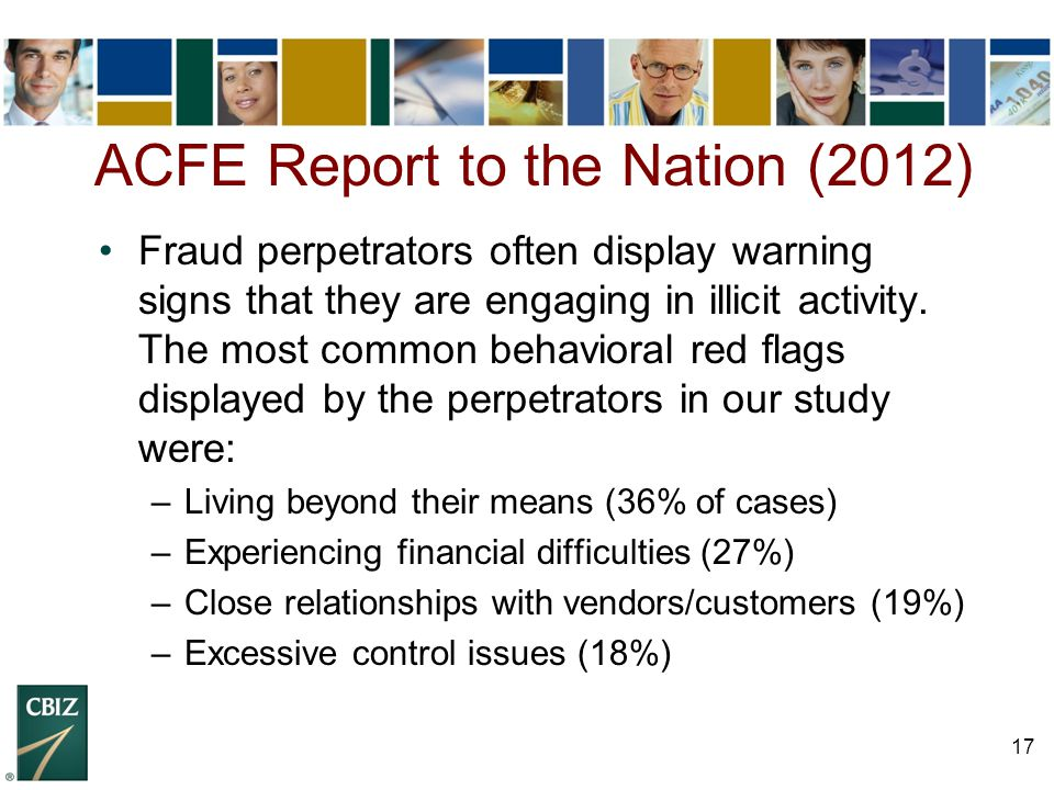 17 Fraud perpetrators often display warning signs that they are engaging in illicit activity. The most common behavioral red flags displayed by the pe