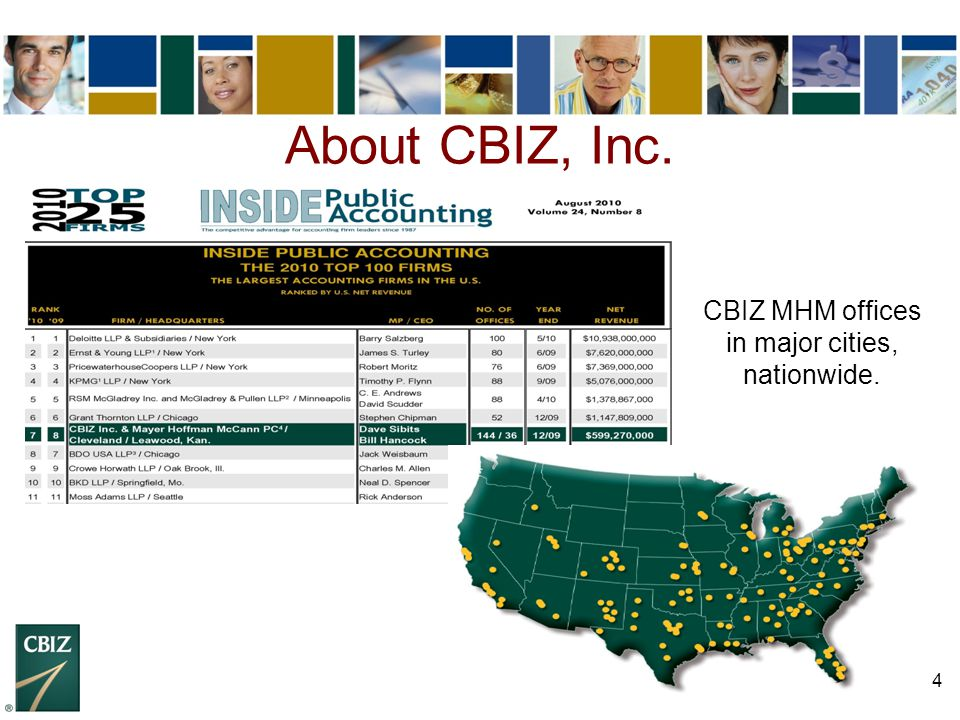 4 About CBIZ, Inc. CBIZ MHM offices in major cities, nationwide.