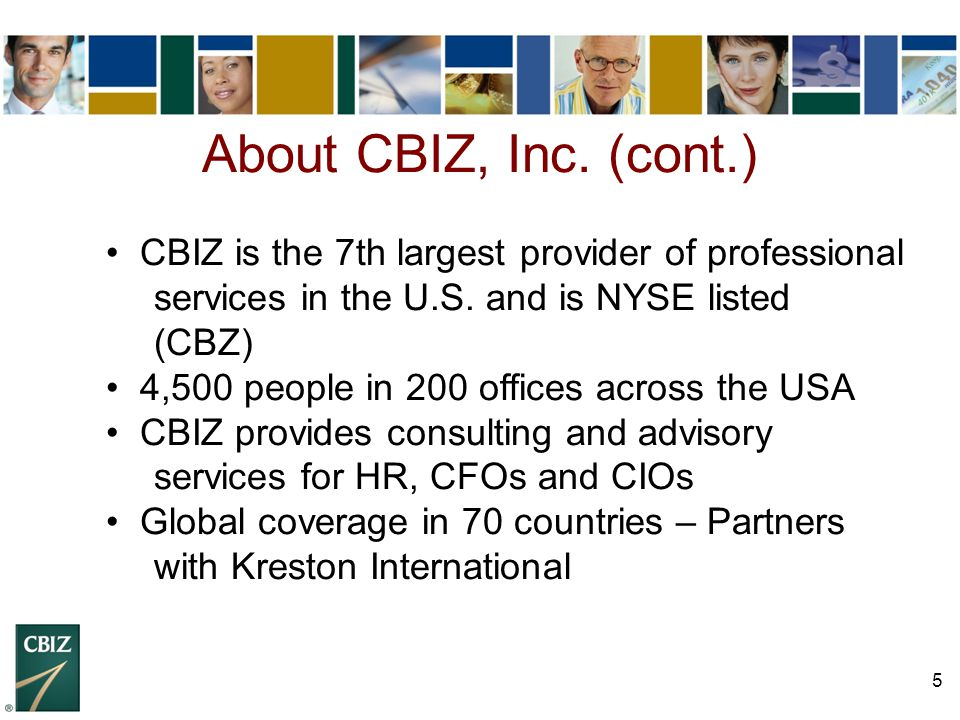 5 About CBIZ, Inc. (cont.) CBIZ is the 7th largest provider of professional services in the U.S. and is NYSE listed (CBZ) 4,500 people in 200 offices
