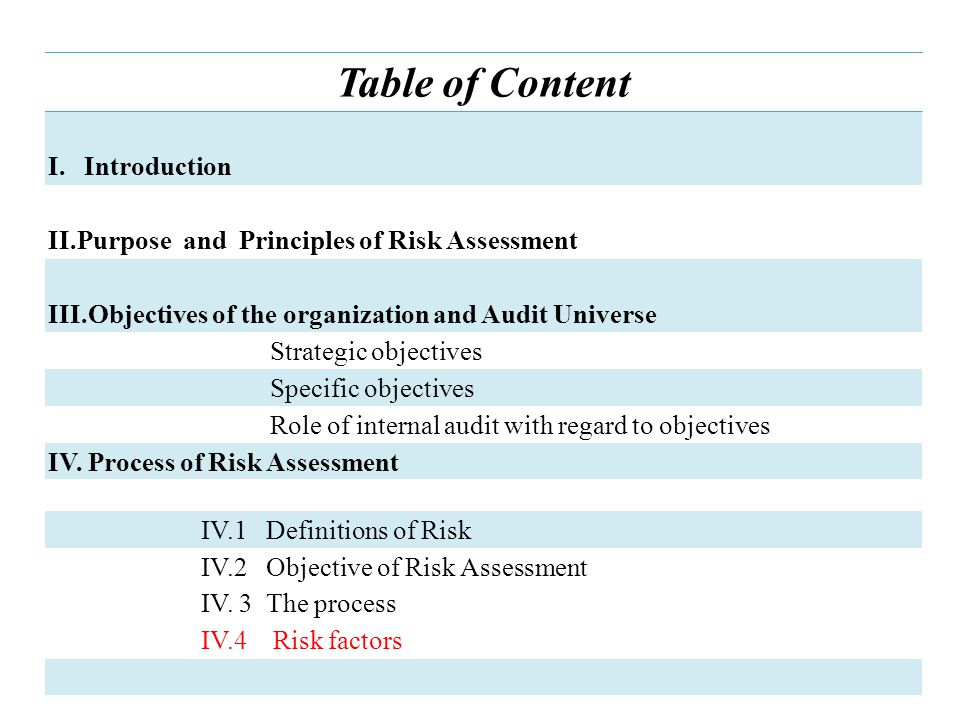 Table of Content I.Introduction II.Purpose and Principles of Risk Assessment III.Objectives of the organization and Audit Universe Strategic objectives Specific objectives Role of internal audit with regard to objectives IV.