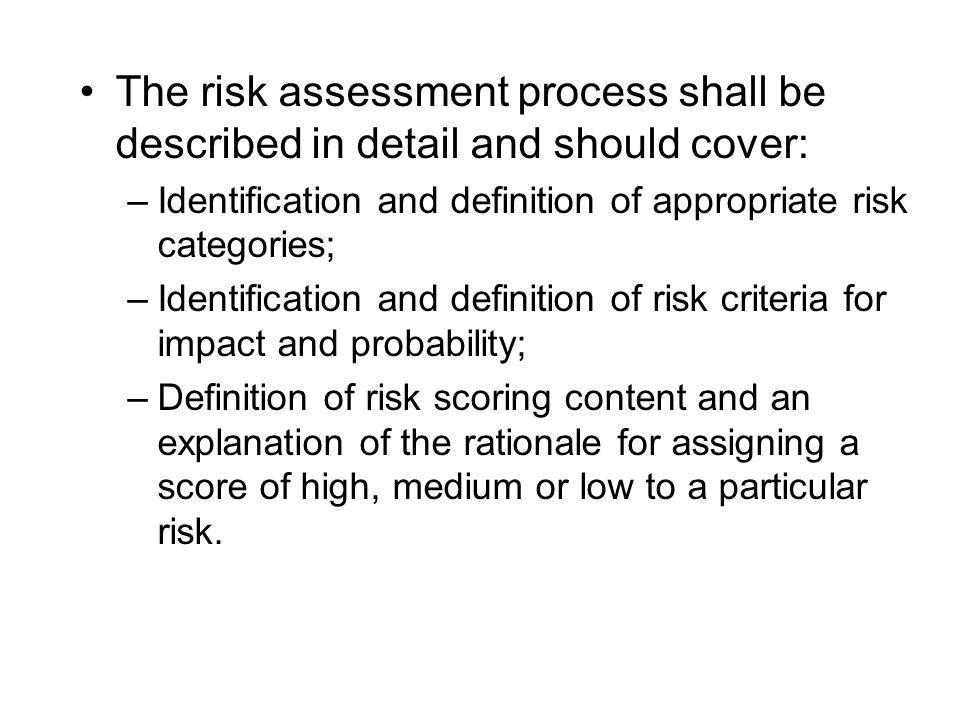 Annex 1: Risk Assessment questionnaire Annex 2: Practical examples of risk factors scores and weight Annex 2:Glossary of terms ANNEXES