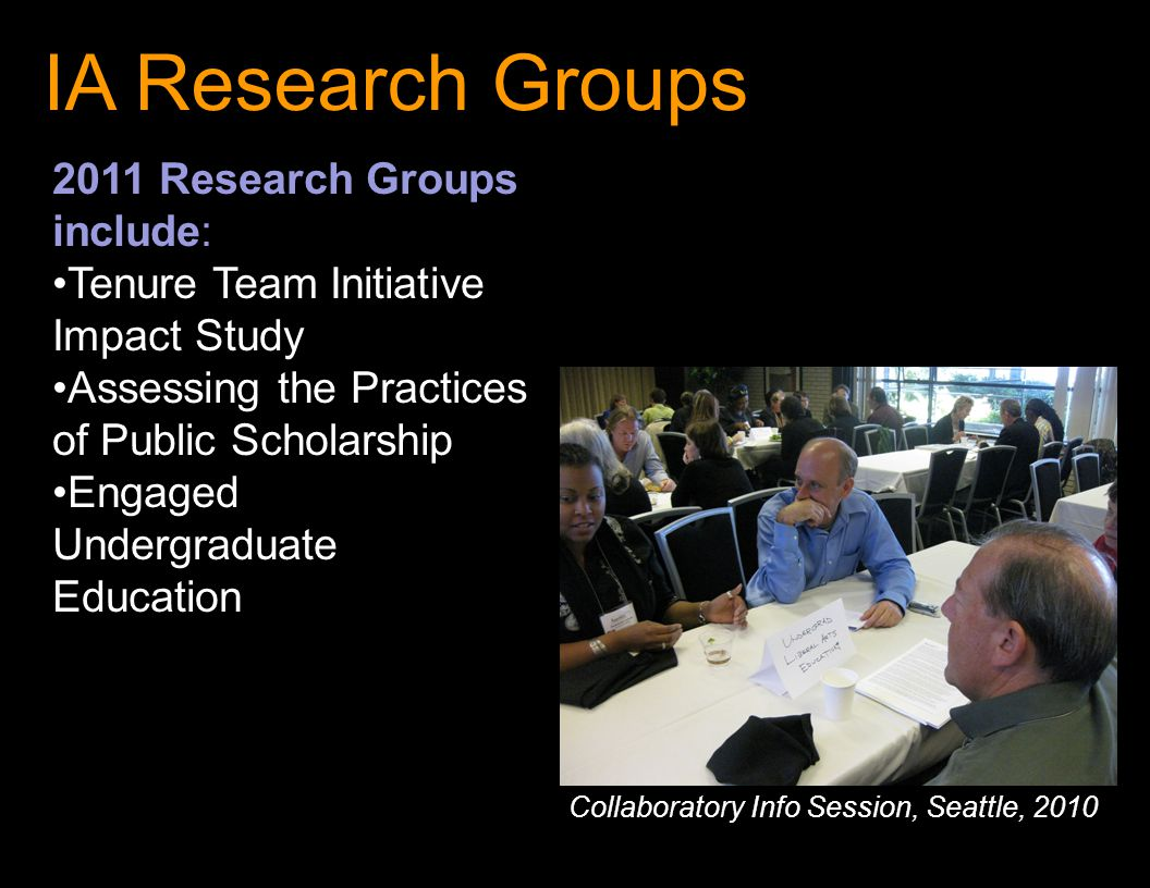 IA Research Groups 2011 Research Groups include: Tenure Team Initiative Impact Study Assessing the Practices of Public Scholarship Engaged Undergraduate Education Collaboratory Info Session, Seattle, 2010