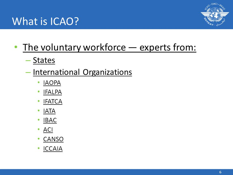 6 What is ICAO? The voluntary workforce — experts from: – States – International Organizations IAOPA IFALPA IFATCA IATA IBAC ACI CANSO ICCAIA
