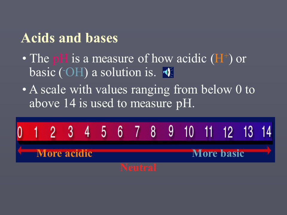 The pH is a measure of how acidic (H + ) or basic ( - OH) a solution is.