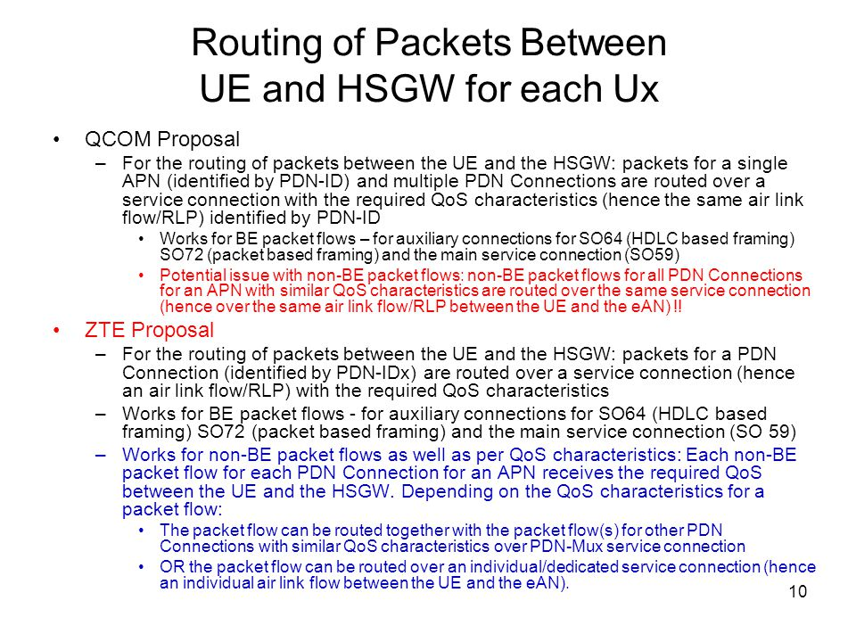 10 Routing of Packets Between UE and HSGW for each Ux QCOM Proposal –For the routing of packets between the UE and the HSGW: packets for a single APN
