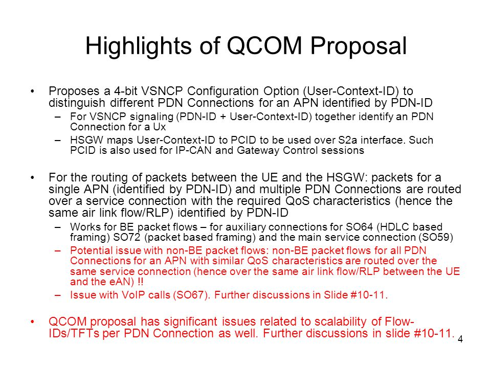 4 Highlights of QCOM Proposal Proposes a 4-bit VSNCP Configuration Option (User-Context-ID) to distinguish different PDN Connections for an APN identi