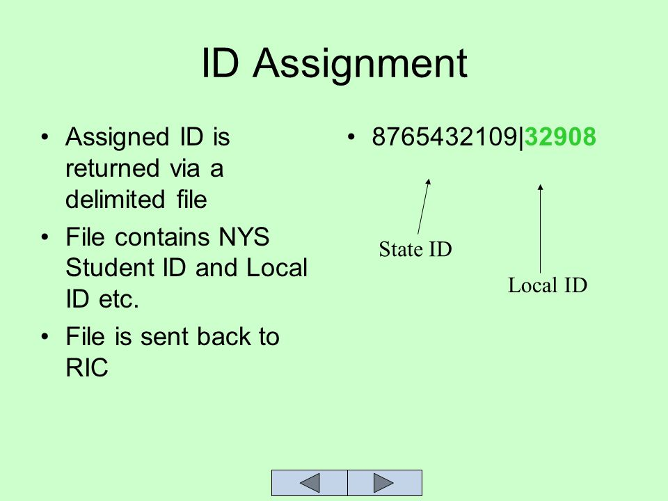 ID Assignment Assigned ID is returned via a delimited file File contains NYS Student ID and Local ID etc.
