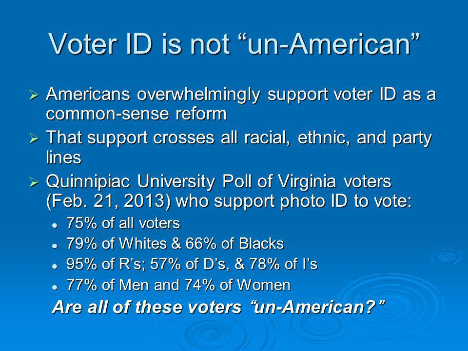Voter ID is not un-American  Americans overwhelmingly support voter ID as a common-sense reform  That support crosses all racial, ethnic, and party lines  Quinnipiac University Poll of Virginia voters (Feb.