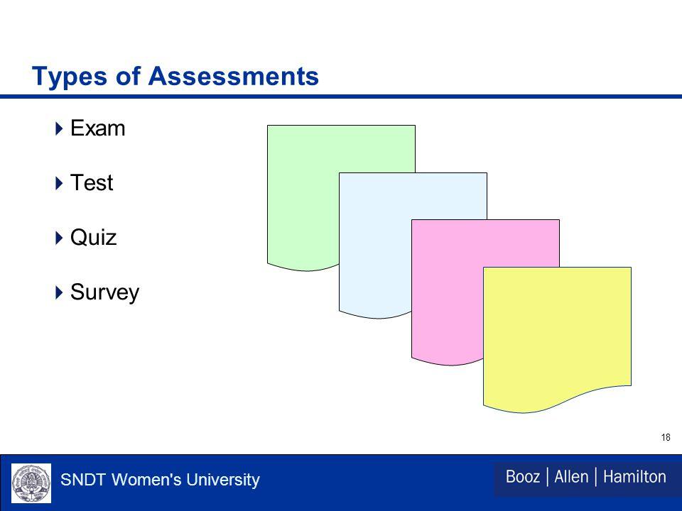 18 SNDT Women s University Types of Assessments  Exam  Test  Quiz  Survey