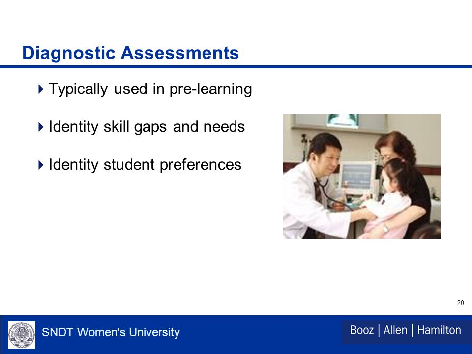 20 SNDT Women s University Diagnostic Assessments  Typically used in pre-learning  Identity skill gaps and needs  Identity student preferences