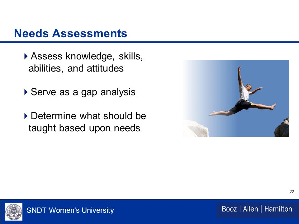 22 SNDT Women s University Needs Assessments  Assess knowledge, skills, abilities, and attitudes  Serve as a gap analysis  Determine what should be taught based upon needs