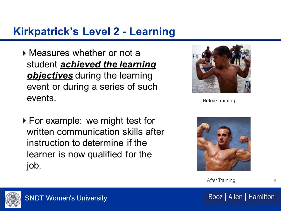 8 SNDT Women s University Kirkpatrick's Level 2 - Learning  Measures whether or not a student achieved the learning objectives during the learning event or during a series of such events.