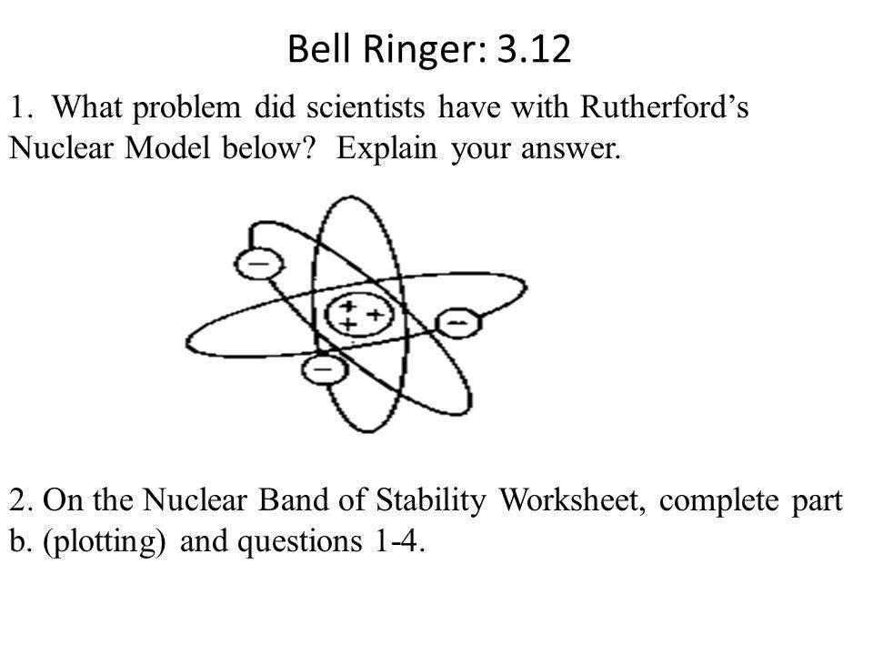 Bell Ringer: 3.12 1. What problem did scientists have with Rutherford's Nuclear Model below? Explain your answer. 2. On the Nuclear Band of Stability