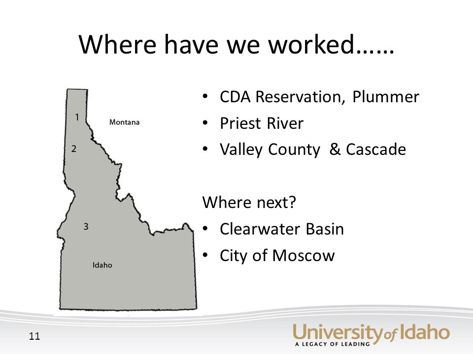 Where have we worked…… CDA Reservation, Plummer Priest River Valley County & Cascade Where next.