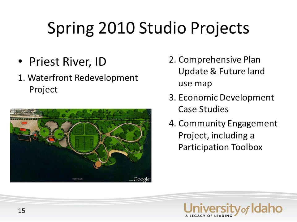 Spring 2010 Studio Projects Priest River, ID 1. Waterfront Redevelopment Project 2 2.