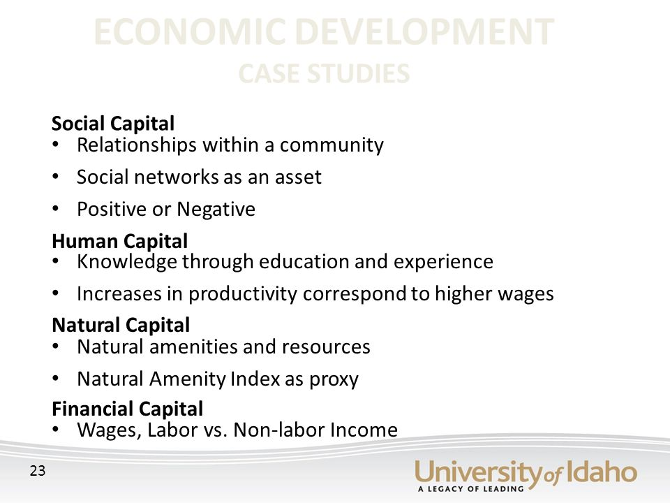 ECONOMIC DEVELOPMENT CASE STUDIES Relationships within a community Social networks as an asset Positive or Negative Knowledge through education and experience Increases in productivity correspond to higher wages Natural amenities and resources Natural Amenity Index as proxy Wages, Labor vs.