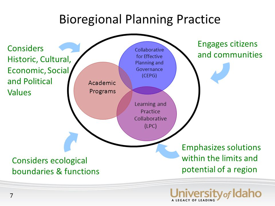 Bioregional Planning Practice Considers ecological boundaries & functions Engages citizens and communities Emphasizes solutions within the limits and potential of a region Considers Historic, Cultural, Economic, Social and Political Values Learning and Practice Collaborative (LPC) Collaborative for Effective Planning and Governance (CEPG) Academic Programs 7