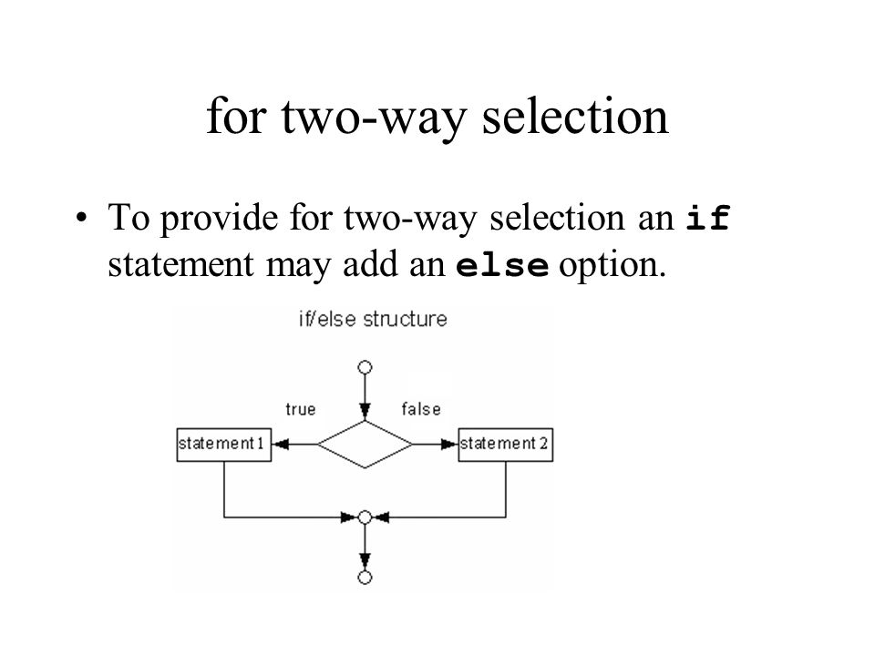 for two-way selection If the expression evaluates to true, the statement is executed.