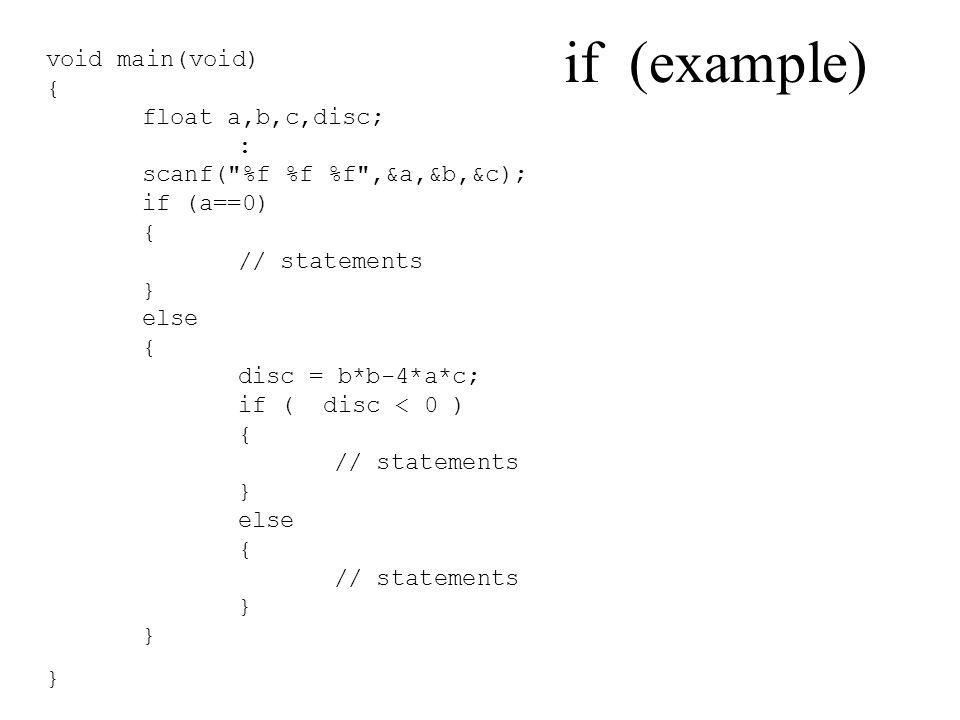 if (example) void main(void) { float a,b,c,disc; : scanf(
