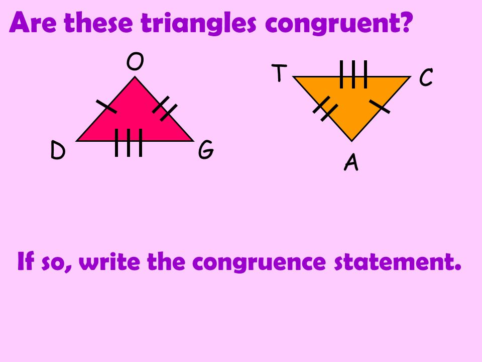 Side-Side-Side (SSS) Congruence Postulate 66 4 4 5 5 All Three sides in one triangle are congruent to all three sides in the other triangle