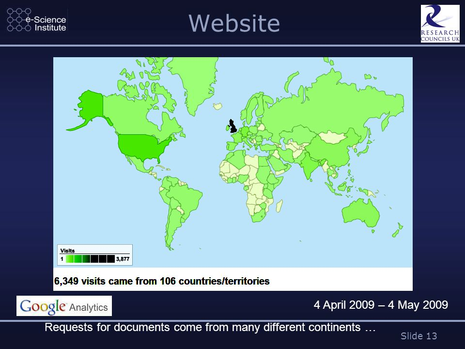 Slide 13 Website Requests for documents come from many different continents … 4 April 2009 – 4 May 2009