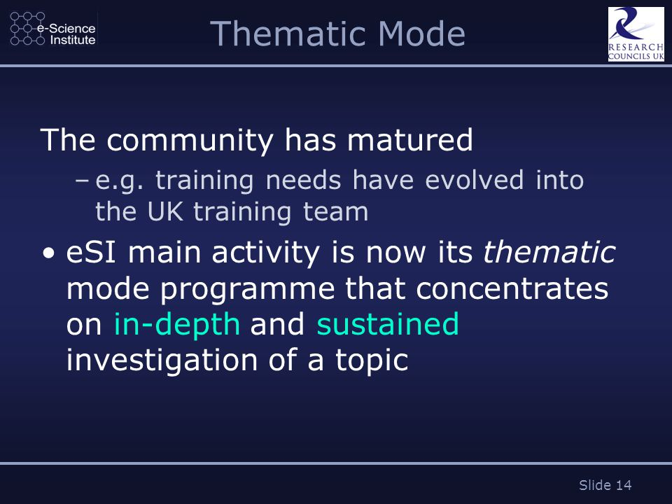 Slide 14 Thematic Mode The community has matured –e.g.