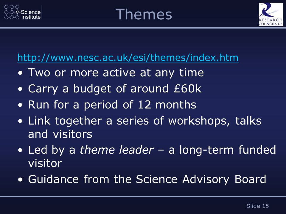 Slide 15 Themes http://www.nesc.ac.uk/esi/themes/index.htm Two or more active at any time Carry a budget of around £60k Run for a period of 12 months Link together a series of workshops, talks and visitors Led by a theme leader – a long-term funded visitor Guidance from the Science Advisory Board