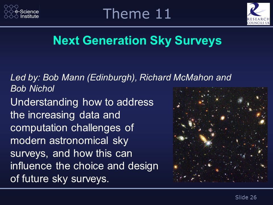 Slide 26 Theme 11 Next Generation Sky Surveys Led by: Bob Mann (Edinburgh), Richard McMahon and Bob Nichol Understanding how to address the increasing data and computation challenges of modern astronomical sky surveys, and how this can influence the choice and design of future sky surveys.
