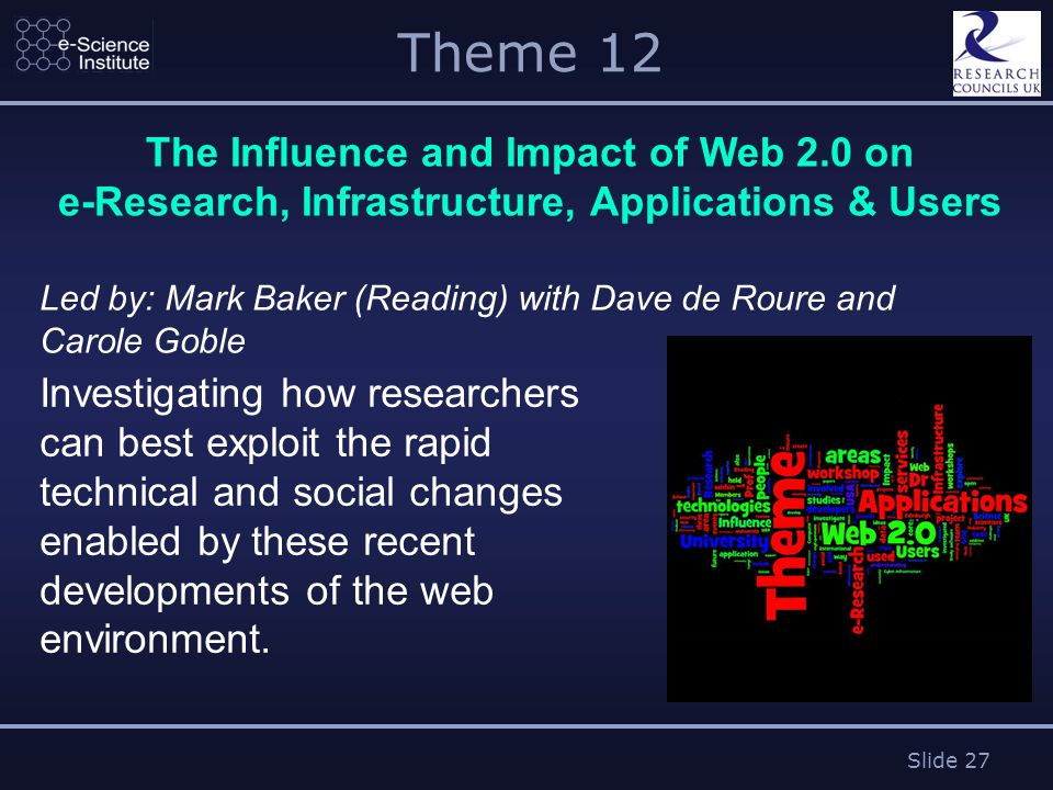 Slide 27 Theme 12 The Influence and Impact of Web 2.0 on e-Research, Infrastructure, Applications & Users Led by: Mark Baker (Reading) with Dave de Roure and Carole Goble Investigating how researchers can best exploit the rapid technical and social changes enabled by these recent developments of the web environment.