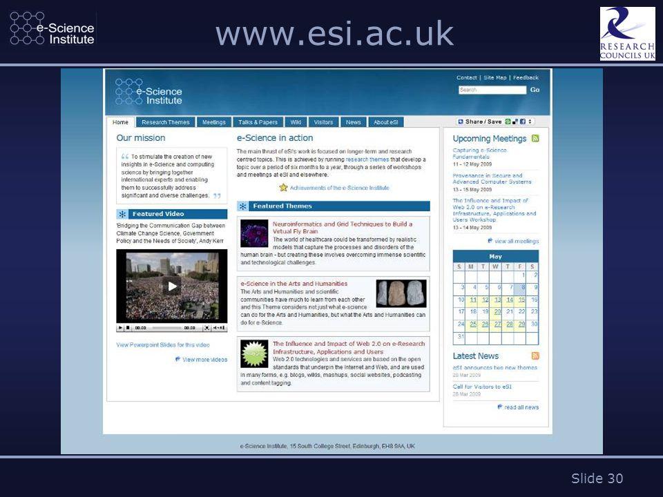 Slide 30 www.esi.ac.uk