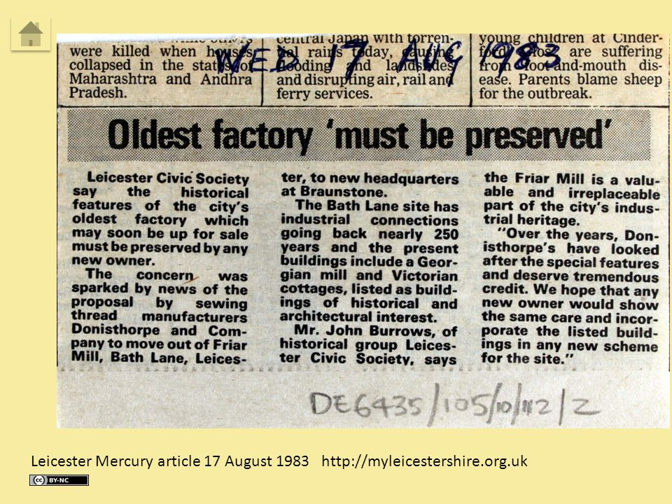 Leicester Mercury article 17 August 1983 http://myleicestershire.org.uk