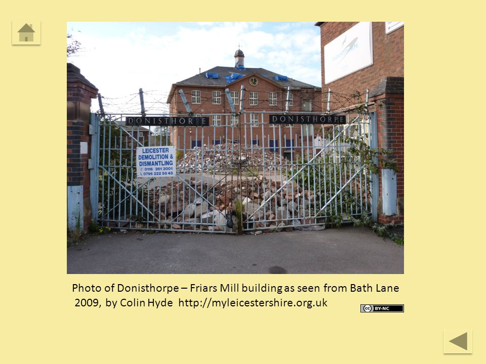 Photo of Donisthorpe – Friars Mill building as seen from Bath Lane 2009, by Colin Hyde http://myleicestershire.org.uk