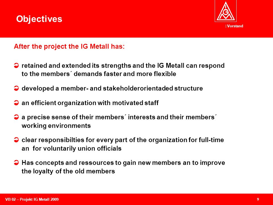 Vorstand 9 VB 02 – Projekt IG Metall 2009 Objectives retained and extended its strengths and the IG Metall can respond to the members´ demands faster and more flexible developed a member- and stakeholderorientaded structure an efficient organization with motivated staff a precise sense of their members´ interests and their members´ working environments clear responsibilties for every part of the organization for full-time an for voluntarily union officials Has concepts and ressources to gain new members an to improve the loyalty of the old members After the project the IG Metall has: