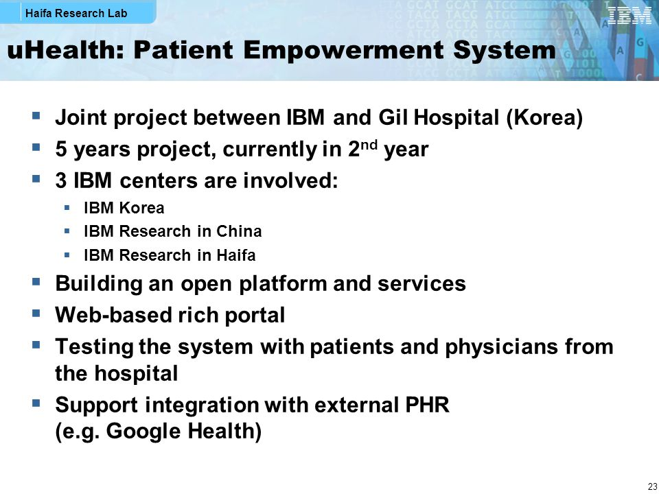 Haifa Research Lab 23 uHealth: Patient Empowerment System  Joint project between IBM and Gil Hospital (Korea)  5 years project, currently in 2 nd ye