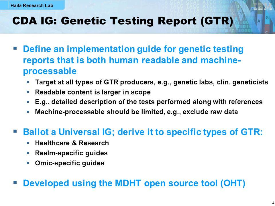 Haifa Research Lab 15 GTR Genetic Variation Section