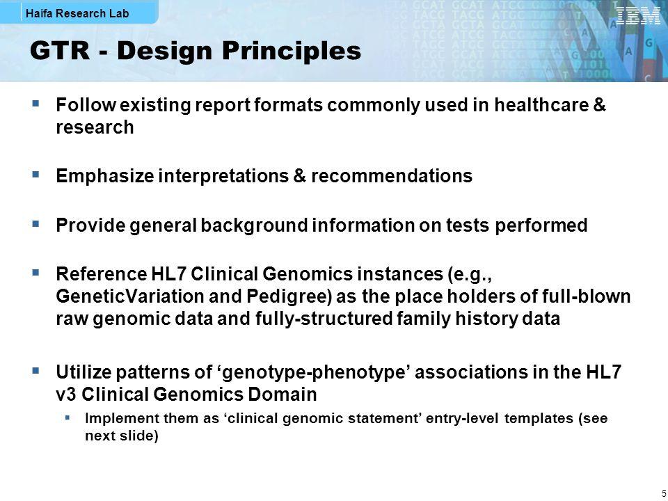 Haifa Research Lab 16 Clinical Genomic Statement Extended by specialized Clinical Genomic Statements
