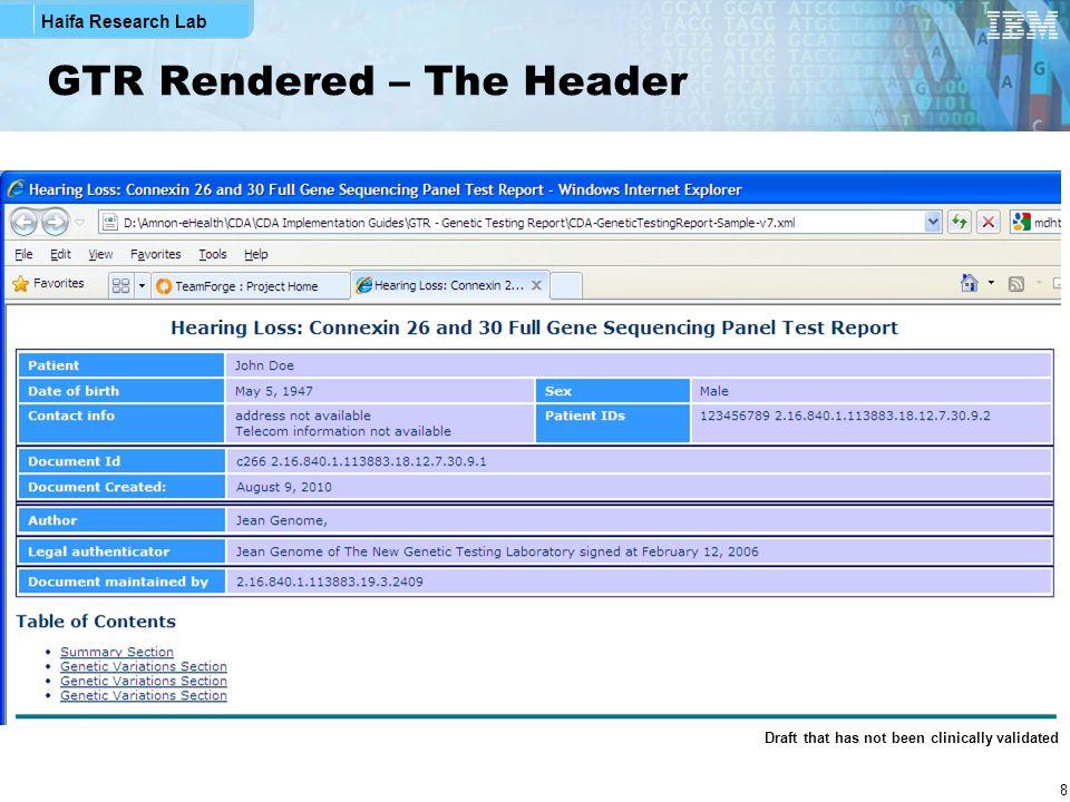 Haifa Research Lab 19 GTR XML Snippets – Specimen Section Specimen's narrative Specimen's structured data