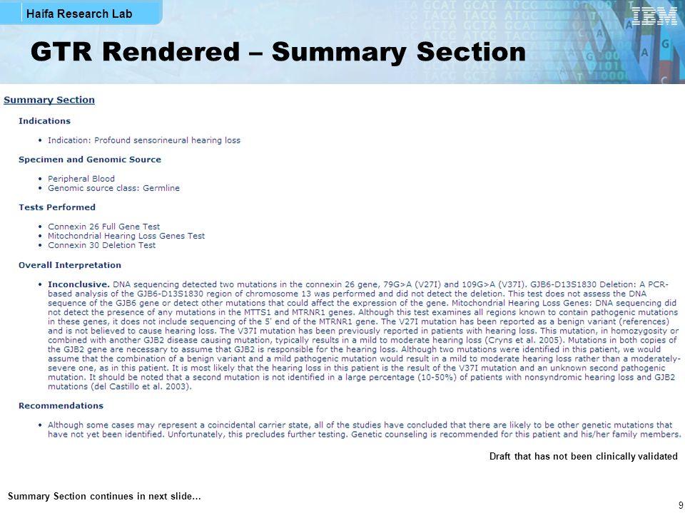 Haifa Research Lab 20 GTR XML Snippets – Overall Interpretation Section Interpretation's narrative Structured Interpretation