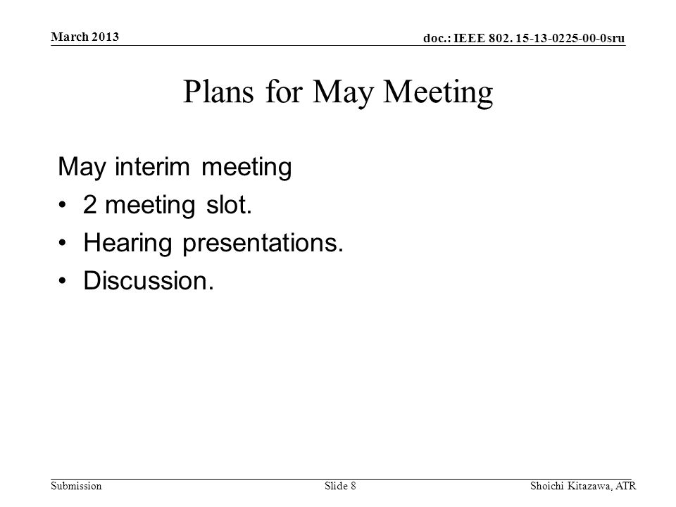 doc.: IEEE 802. 15-13-0225-00-0sru Submission Plans for May Meeting May interim meeting 2 meeting slot. Hearing presentations. Discussion. March 2013