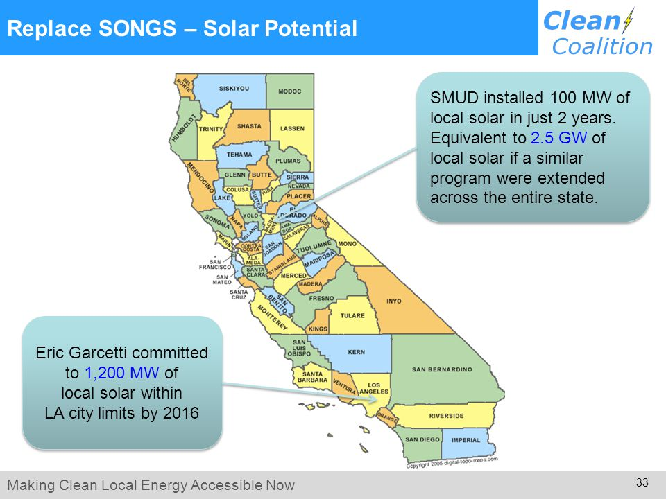 Making Clean Local Energy Accessible Now 33 Replace SONGS – Solar Potential SMUD installed 100 MW of local solar in just 2 years.