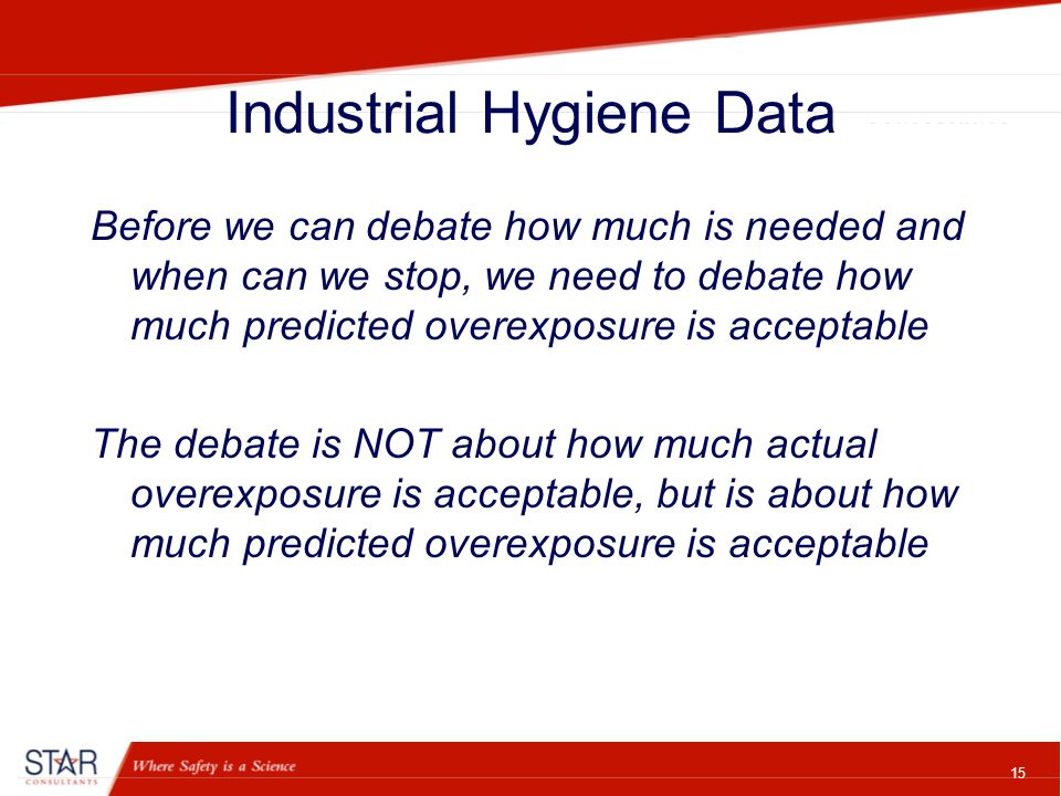 15 Industrial Hygiene Data Before we can debate how much is needed and when can we stop, we need to debate how much predicted overexposure is acceptable The debate is NOT about how much actual overexposure is acceptable, but is about how much predicted overexposure is acceptable